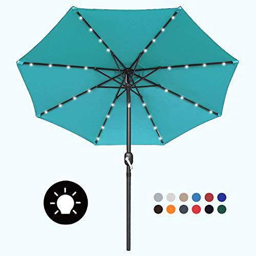 MasterCanopy 2.7M Sonnenschirm Ourdoor Solarschirm LED-Regenschirme mit 32LED-Lichtern,12 + Farben,Türkis