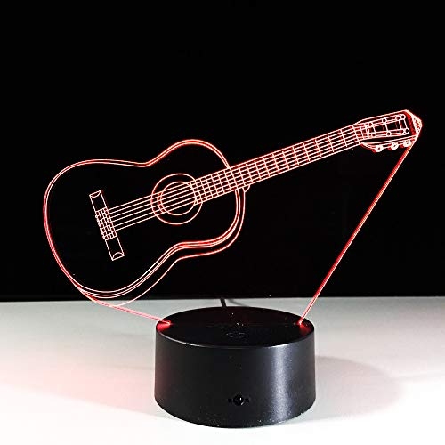 JINYI 3D Night Light Music Electric Guitar, LEDoptical Illusion Lamp, G - Mobile Phone Control Base, Acrylic Panel, Valentines Gift, Gift for Child, Warm Lamp, Gift for Boy