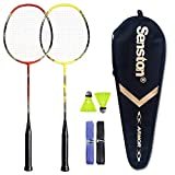 Senston - 2 Player Badminton Racket Set - Including 1 Badminton Bag/2 Rackets/2 Badminton /2 Grip­