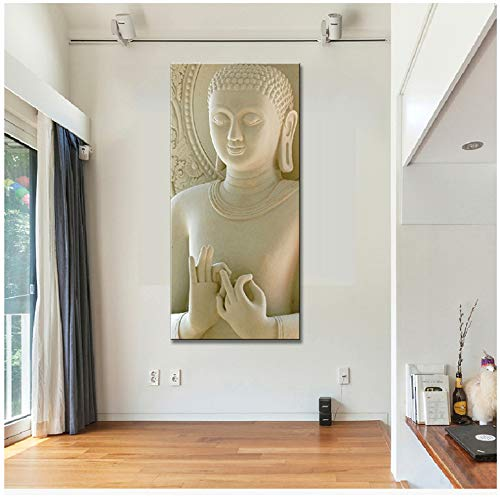 RUIQIN Canvas Painting Modern Artwork Abstract Buddha Wall Picture for Living Room Decoration 70x90cm No Frame Yellow