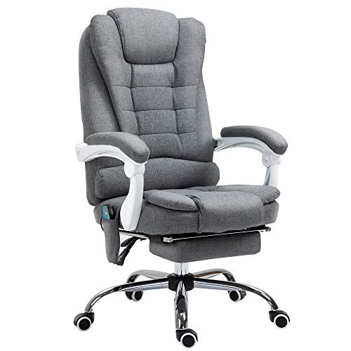 Vinsetto 6 Point Massage Office Chair Computer Swivel Rolling Task Chair with Retractable Footrest with Heat and Height Adjustable Comfortable with Armrests