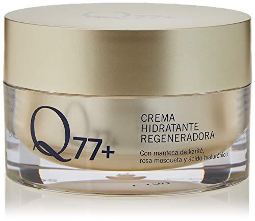 Q77+ Crema hidratante regeneradora facial | Con Ácido Hialurónico, Manteca de Carité y Aceite Rosa de Mosqueta | 50 ml