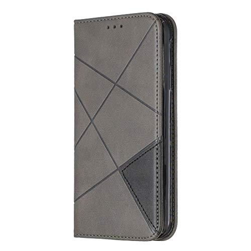 Wdckxy Paulcase - Funda de piel con tapa para iPhone 11 (cierre magnético, tarjetero, función atril, tarjetero), diseño de rombos