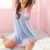 Vestido de lencería Sexy para Mujer, Encaje Transparente, Ropa de Princesa Sweete, camisón de Color Caramelo, Vestido Corto