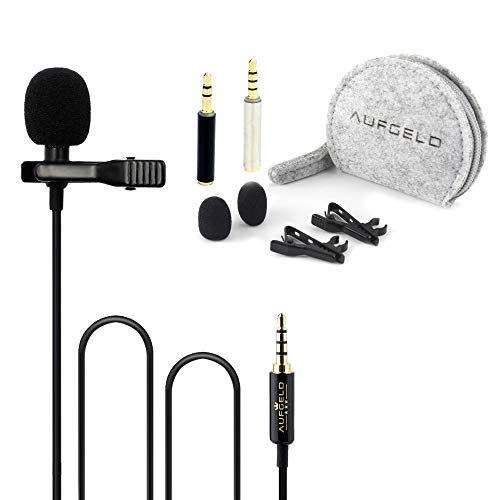 Professional Small Mini Lavalier Lapel Omnidirectional Condenser Microphone Compatible with iPhone Android Windows Cellphones Clip On Interview Video Voice Podcast Noise Cancelling Mic Blogger Vlogger
