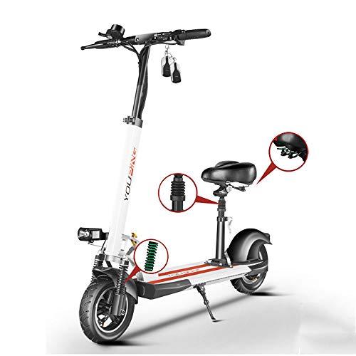 MSG ZY Elektroscooter/Elektrisches Fahrrad, faltender Luftfahrt-Aluminiumkörper, 48V - 18AH - 80KM - 18650 Energie Lithiumbatterie, Erwachsener E-Roller,White