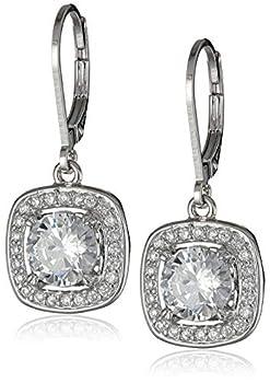 Sterling Silver Cubic Zirconia Halo Set Lever-Back Drop Earrings 2.98 cttw