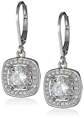 Sterling Silver Cubic Zirconia Halo Set Lever-Back Drop Earrings (2.98 cttw)