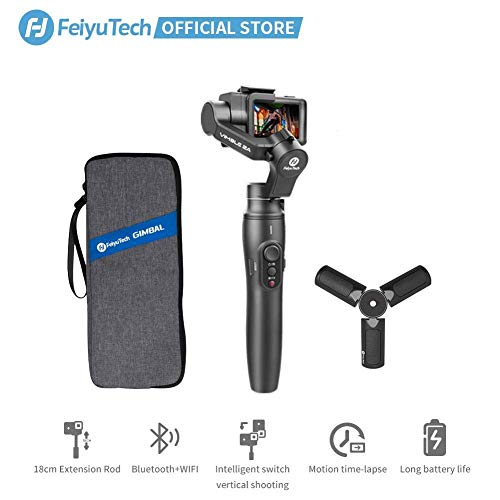 FeiyuTech Vimble 2A Gimbal 3 Axis Handheld Gimbal Fits GoPro Action Camera Tripod Built-in Extension Pole WiFi Connection for GoPro Hero 7/6/5 Selfie Mode Group Photos Video Blogger