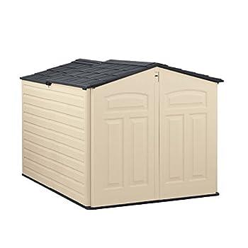 Rubbermaid Slide-Lid Resin Weather Resistant Outdoor Garden Storage Shed for Backyard Garden Tool Storage Lawn Garage Organizer Sandstone