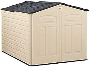 Rubbermaid Slide-Lid Resin Weather Resistant Outdoor Garden Storage Shed for Backyard, Garden, Tool Storage, Lawn, Garage Organizer, Sandstone