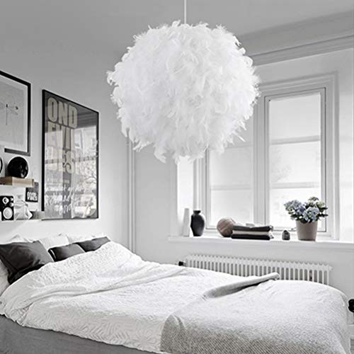 Jourbon Pendelleuchten Weißer Feder Decken Anhänger Lampenschirm Deckenleuchte Wohnzimmer Deckenlampe sehr auffällig mit E27 Lampenfassung für Wohnzimmer Schlafzimmer