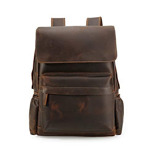 Lannsyne 80s Vintage rugzak voor heren, echt leer, grote capaciteit 15,6 inch, laptoptas, reistas, dagrugzak voor werk en universiteit