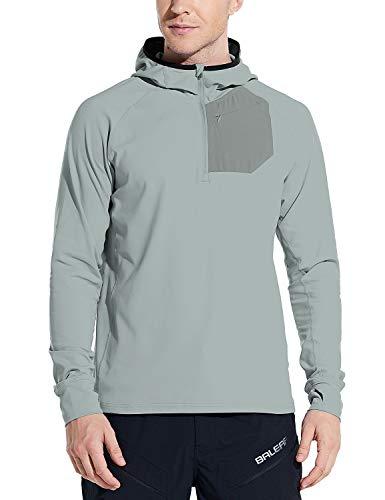 BALEAF Men's Running Pullover Shirts Warm Thermal Half Zip Hoddies Pullovers with Zipper Pocket Hiking Cycling Light Grey M