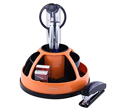 EXERZ EX899 Portaoggetti rotante girevole a 360° da scrivania con set di cancelleria/Organizer da scrivania - Forbici, Pinzatrice, Punti metallici, Penne, Righello, Gomma, Graffette INCLUSE (Arancia)