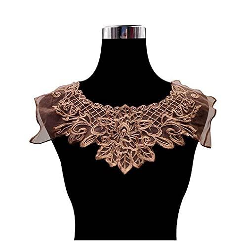 Jacky's Moderno Café Organza 3D Bordado Material de Encaje Fabirc Vestido Guipure Collar Trim Applique Coser Recortes Y Adornos Encaje Trim Vintage Cinta Crochet Borde festoneado Para Novia Miedo