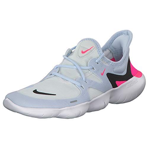 Nike Women's WMNS Free Rn 5.0 Track & Field Shoes, Multicolour (White/Black/Half Blue/Hyper Pink 000), 5 UK