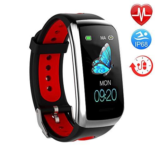 TwobeFit Fitness Armband mit Pulsmesser Fitness Tracker Smartwatch Blutdruckmesser Wasserdicht IP68 Aktivitätstracker Schrittzähler Sport Uhr Stoppuhr Damen Herren Anruf SMS für iPhone Android (B-Red)