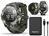 Garmin Instinct Solar Camo (Lichen) GPS Military Smartwatch Power Bundle   Includes PlayBetter Power Bank Charger & Screen Protectors   Outdoor Hunting Gear   Solar Hiking Watch   010-02293-16