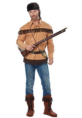 Adult Davy Crockett Costume Large Brown