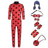 Disfraz festivo de Ladybug para niña, mono para juegos de rol, disfraz de carnaval con peluca, clip para las orejas, máscara para los ojos y bolsa, M (120 – 130 cm)