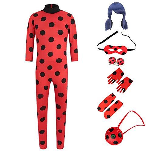Mädchen Festliche Cosplay Kostüm Jumpsuit Ladybug, Kinder Rollenspiel Karneval Party Overall mit Perücke, Ohrclip, Augenmaske & Tasche S(110-120cm)
