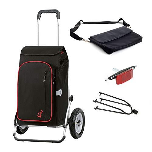 Andersen Einkaufstrolley Royal XXL luftbereift mit Fahrrad-Anhängerkupplung und 56 Liter Einkaufstasche Toto schwarz mit Kühlfach, extra Laptoptasche