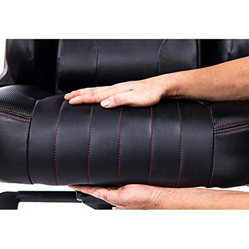 KILLABEE Big and Tall 400lb Memory Foam Gaming Chair-Adjustable Tilt, Angle and 3D Arms Ergonomic High-Back Leather Racing Executive Computer Desk Office Metal Base (Black)