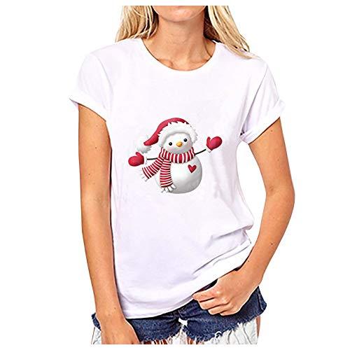 Camiseta Navideña Mujer Blusa Estampada Manga Corta Camisetas Cuello Redondo Tunica Verano Sudadera Harajuku...