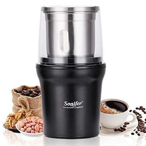 Elektrische Kaffeemühle 300W 100g Nass und trocken Mehrzweck Große Kapazität Fassungsvermögen für Kaffeebohnen Nüsse Gewürze Getreide Kräuter Mühle abnehmbare Edelstahlbehälter mit Edelstahlmesser