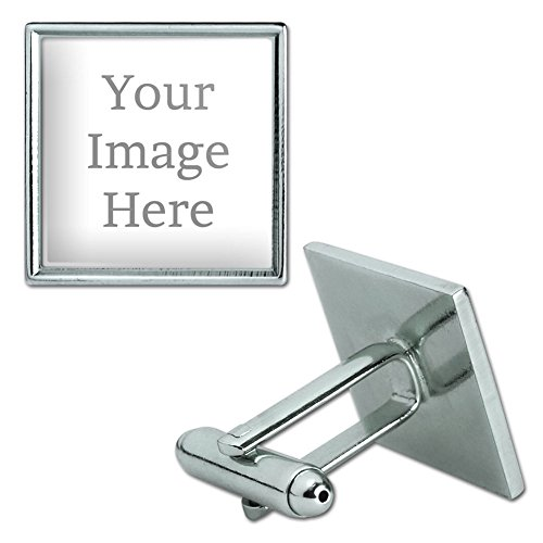 Graphics and More Self-eez(TM) Custom Personalized Square Cufflinks - Silver