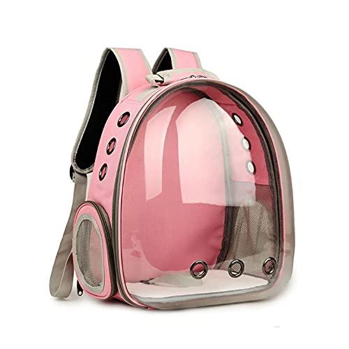 JSJJAQA Mochila para Mascotas Transparente Transparente Capsule Pet Cat Cachor Puppy Space Space Mochila Bolsa Portador (Color : Pink)