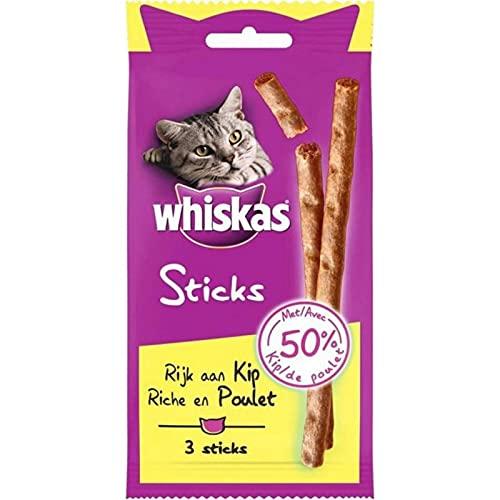 Whiskas 3 Sticks Riche en Poulet 18g (Lot de 10)