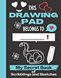 This Drawing Pad Belongs to ______! My Secret Book of Scribblings and Sketches: Cute Hadrosaurus Sketchbook | Hadrosaurus sketchbook for kids blank ... Gift for Birthday & Christmas & Thanksgiving