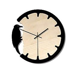 Sgsg Modern Wall Clock, European Retro Wooden Clock Woodpecker Wall Clock Personality Creative Art Dynamic Woodpecker Decoration Gift for Living Room Bedroom
