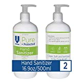 UNITERS Pure + Protected Hand Sanitizer Liquid Pump (2 Pack) - Non-toxic Hand Sanitizer Alcohol Free & Odor-Free – Moisturize with Pleasant Smelling Aloe Vera, Antibacterial, Long Lasting - 500ML