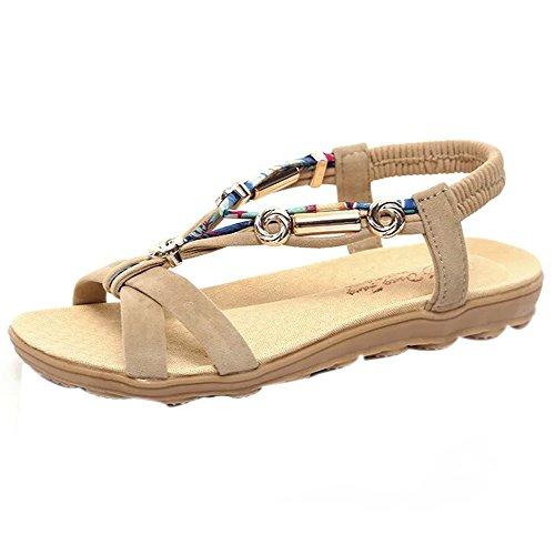Sandales Bohême Femme,Honestyi Escarpins Plates Chaussures Bouche de Poisson Tongs Bout Ouvert Sandales de Outdoor Chaussures de Plage Shoes Mode Chic