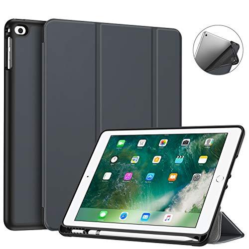 Fintie SlimShell Hülle für iPad 9.7 2018 - Superleicht Soft TPU Rückseite Abdeckung Schutzhülle mit eingebautem Apple Pencil Halter, Auto Schlaf/Wach für iPad 6. Generation, Himmelgrau