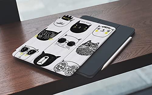 MEMETARO Funda para iPad (9,7 Pulgadas 2018/2017 Modelo), Gato Gatos Elegantes con Bigote Gafas Corbata Sombrero Corona Mullido Humor Caras Gr Smart Leather Stand Cover with Auto Wake/Sleep