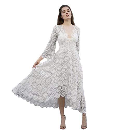ZuzongYr Vestido de Mujer ➤ Vestido de Boda de Manga Larga...