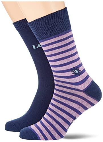 Levi's Stripe Flower Cut Socks Calcetines Corte Flores a Rayas, Dahlia Purple, 43 Regular Unisex Adulto