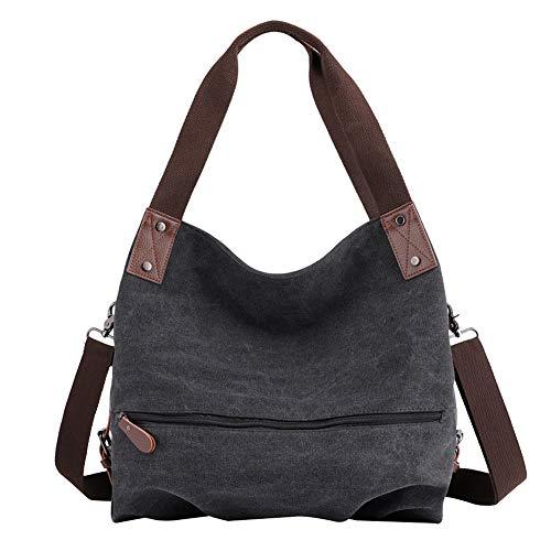 PB-SOAR Damen Modern Canvas Schultertasche Umhängetasche Shopper Handtasche Henkeltasche Hobo Bag Beuteltasche (Schwarz)