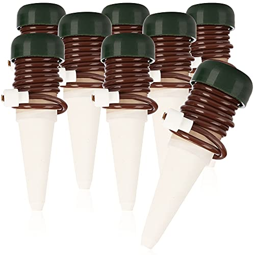 com-four® 8X Bewässerungskegel, Tonkegel mit Schlauch als Tropfsystem-Wasserspender im Urlaub, automatisches Bewässerungssystem für Zimmerpflanzen und Blumen (8 Stück - braun)