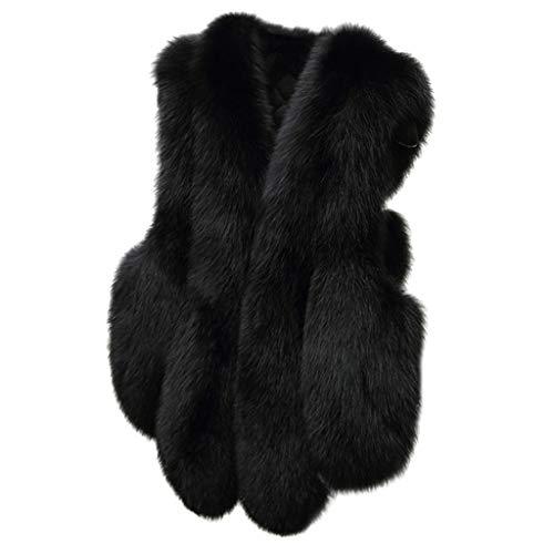 MINIKIMI bontvest dames nep bont warm stijlvolle bontvest jas oversize mouwloos faux bontjas elegante korte winterjas