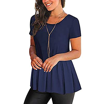 RAINED-Women's Shirts Casual Pleated Blouse Short Sleeve Ruffle Tunic Tops Solid Color Fit Flare Hem T Shirt Tunic Top