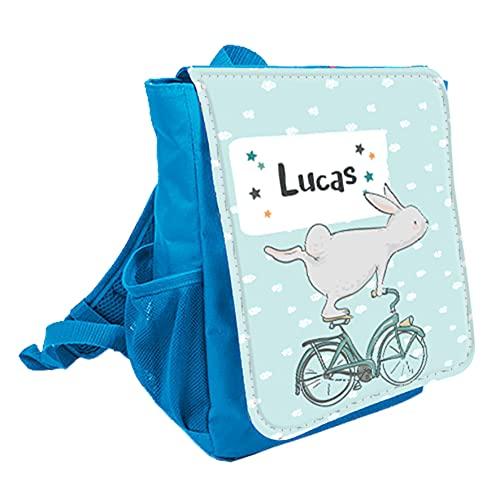 wolga-kreativ Kleiner Rucksack Kindergartentasche Hase Fahrrad Kinderrucksack Kindergartenrucksack Mädchen Jungs Kinder mit Namen Tagesrucksack Kindergarten Kindertasche