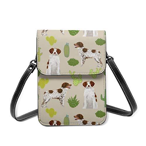Brittany Spaniel - Bolso de hombro pequeño, diseño de cactus, perro deportivo, bolsa cruzada para teléfono celular, cartera ligera para mujeres y niñas