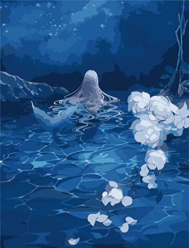 Renqiancun Schilderset met cijfers met borstels en acrylpigmenten, schilderij op canvas om zelf te maken voor volwassenen, geschenken voor beginners en zeemeermin, in late nacht 16 x 20 inch Frameless