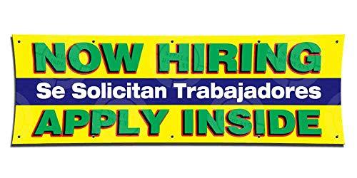 Now Hiring Se Solicitan Trabajadores Apply Inside Banner (3ft X 9ft) Employment Agency Open Sign Job Work Positions