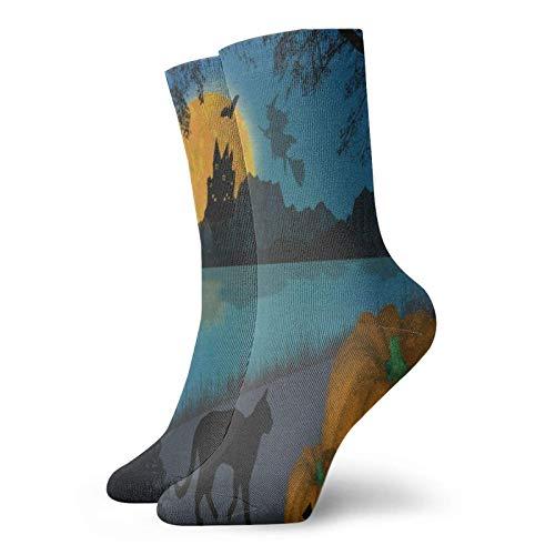 REAlCOOL Calcetines deportivos para hombre y mujer Calcetines deportivos de calabaza vectorial y gato negro Calcetines deportivos únicos con cojín antiolor, media de bota corta